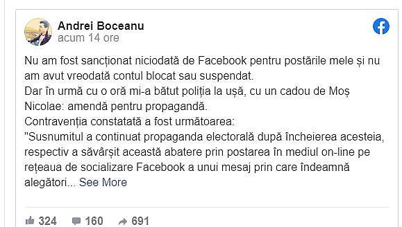 Amendat cu 4.500 de lei pentru o postare anti-Guvern si pro-PSD pe Facebook